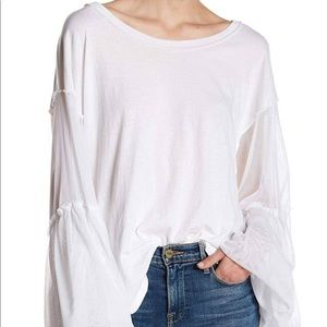 Free People White bell sleeve top size m